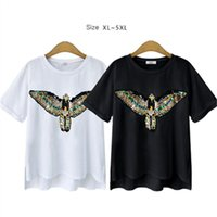 Wholesale Shirts Bling For Women - Summer Cotton White Casual T Shirt for Full Woman Eagle Bling Bling Appliques Plus Size 4XL 5XL 2016 New Style Lady's Tops Black