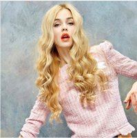 Hot Long Wavy Synthetic Wigs 2016 Fashion Costume Hair Wigs 27 polegadas Charming Curly Blond Wigs for Women Alta qualidade