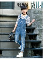 Wholesale Girl Kid Overall Jeans - Kids Clothing Girls Overalls Jeans Worn out Fashion Long Suspender Pants Fall Denim Children Girl Clothes