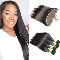 Wholesale Brazilian Remy Hair For Cheap - Cheap Brazilian Hair 4 Bundles Kinky Straight With 13*4 Inch Lace Frontal Unprocessed Natural Black Remy Human Hair Bundles For Wholesale