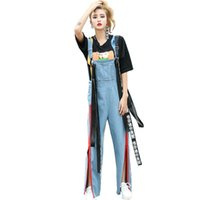 Wholesale Chinese Jumpsuits - Wholesale- 2017 women ribbon bib pants spaghetti strap denim overalls zipper split jeans Chinese word print salopette loose jumpsuit LT408