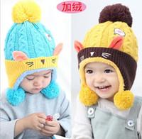 2017 Lovely Baby Animal cat Fleece Hats Thicken Kids Winter Warm Earflap Caps  Cute Fashion Infant Boys Girls Beanies Cap Hats ddd7de37ba06