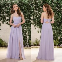 Wholesale Sweetheart Cut Bridesmaid Dresses - Country Style 2016 Long Bridesmaid Dress Lavender Strapless Sweetheart Ruched Chiffon Maid of Honor Gowns Cut out Low Back Slit Floor Length