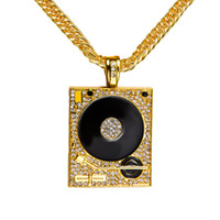 Wholesale Dj Plates - High-quality 24k Gold Plated Hip hop Rapper DJ Alloy Round square crystal Pendant long Necklace 80cm Long jewelry