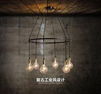 Wholesale coffee america - new design America country village LED vintage iron pendant light AC85-265V LED retro lamp for bar resraurant coffee decoration