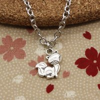 Wholesale Pendant Fox - New Fashion Tibetan Silver pendant fox 15*14mm Necklace, Round chain DIY Hand made Necklace Jewelry