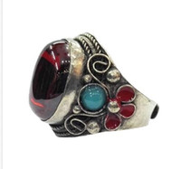 Wholesale Old Flower Plates - RARE MIAO SILVER OLD INLAY Zircon Cloisonne Enamel Red Flower Noble Ring