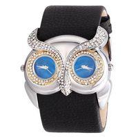 relógios de pulso venda por atacado-Mais recente moda Animal Novidade Relógio Coruja Larga Pu Moda Couro Relógio Dual Fuso Horário Vestido Relógio Das Mulheres Dos Homens Relógios de Pulso Casual