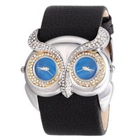 Unisex owl belt buckle - Newest fashion Animal Novelty Owl Watch Wide Pu Leather Fashion Watch Dual Time Zone Dress Watch Women Men Casual Wrist Watches