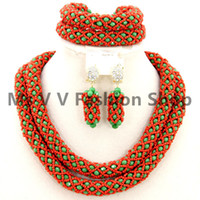 Wholesale Gold Necklace Red Coral - African Jewelry Set Nigeria Jewelery Sets green coral red Crystal Beads Wedding Necklace bracelet earrings Set brazilian gold filled jewelry