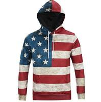 Wholesale Hoodie Stars Stripes - New Fashion North America Style 3D Hoodies Men Women Hooded Sweatshirts USA Flag Stars & Stripes Print Hoody Tops Plus Size 3XL