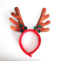 Wholesale Reindeer Antlers Wholesale - New Christmas Reindeer Headband Cosplay Ornaments Red Reindeer Antler Headband Santa Hat for Christmas Day wen4539