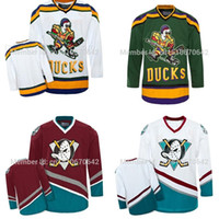 venda de camisas de hóquei em branco venda por atacado-Venda quente Em Branco Personalizado Hóquei No Gelo Anaheim Mighty Ducks Jersey, personalizado Qualquer Número, Qualquer Nome Costurado Em (S-4XL) Aceitar a Ordem Da Mistura