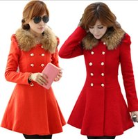 Wholesale camel wool coat women - Red Black Navy Orange Red Camel Faux fur Collar Skirt Coats Cute Winter Short Wool Jacket S XL