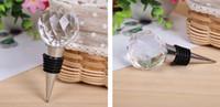 conjuntos de regalo de vino envío gratis al por mayor-Los nuevos favores y regalos de la boda del conjunto del vino de Crystal Heart Chrome Bottle Stopper a estrenar Buena calidad Envío libre