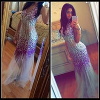 Wholesale Images Colourful Gowns - Colourful Heavy Lavender Crystal Rhinestone Champagne Tulle Mermaid Evening Dresses 2017 Floor Length Sexy Women Pageant Gowns