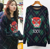 Wholesale Computer Numbers - Women's Casual Dragon Applique Argyle Intarsia Knitwear Fashion Design Jacquard Lucky Number 25 Sweater Pullover Multi-Color Knit Jumper