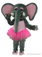 ingrosso abito rosa elefante-SX0723 100% di feedback positivi un costume da mascotte elefante grigio con abito rosa da adulto da indossare