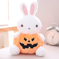 Wholesale stuffed frog animal toy - Halloween Pumpkin Animals Stuffed Toy 9.8inch Plush Chubby Pumpkin Body Soft Rabbit Frog Puppy Bear Party Decor Kawaii Toy 031601S