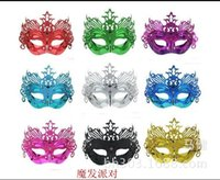 Wholesale half face gold party masks resale online - Masquerade Mask Halloween Christmas Venetian Dance Party Masks Gold Powder Lace A Variety Of Colors Mystery mj J