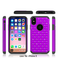 Wholesale Two Phones One Case - For IPhone X phone case PC+TPU plastic anti-scratch two-in-one diamond full-day mobile phone shell anti-wrestling drill phone case