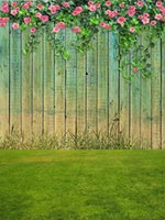 Digital Painted Wood Plank Wall Fotografia Sfondo Primavera Rosa Roses Vines Verde Erba Prato Bambini Bambini Outdoor Party Foto Sfondo