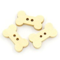 Wholesale Sewing Buttons Bone - Cartoon Bone Shap Buttons 2 Holes Bone Wooden Buttons 18x10mm DIY Decorative Buttons 50pcs Clothing Accessories Sewing Buttons I63L