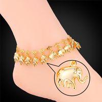 Wholesale little girls bracelets - U7 Little Elephant Foot Bracelet Summer Jewelry 18K Real Gold Platinum Plated Anklet Bracelets For Women Beach Accessories A945