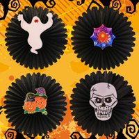 Carta Halloween Ragno Zucca Scheletro Ghost Wall Hanging Decorative Forniture Flower Fan Home Bar Window Pendant