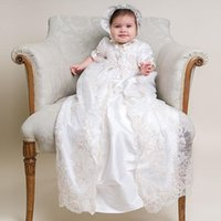 Wholesale Baby Christening Boys - 2016 Lovely Baby Christening Gowns Long Baptism Dress with Embroidery Short Sleeve Infant Baptism Gown Cute for Baby Girls and Boys