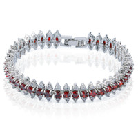 Wholesale Garnet Bracelet Sterling Silver - Shiny 18k White Gold Plated Ruby Bridal Tennis Bracelet Women's Garnet Party Jewelry Beautifu Valentine Gift