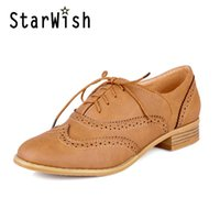 Atacado- Moda Round Toe Lace Up Mulheres Flat Oxford Shoes Tamanho 34-43 Sapatos Mulher Vintage Carved Oxford Shoes para Mulheres Ladies Oxfords