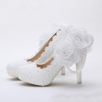 Wholesale Beautiful Girls Heel Shoes - White Flower Lace Platform Bridal Shoes Beautiful Women High Heels Handmade Lace Wedding Dress Shoes Girl Birthday Party Pumps