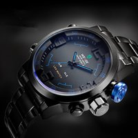 Wholesale Gold Weide - WEIDE Military Watches Men Full steel Watch Sports Diver Quartz Wristwatch Multi-function LED Display 12-month Guarantee