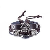 Wholesale Hand Made Bracelets For Men - Black Punk Rock Jewelry Skull Leather Women Men Bracelet Cuff Gothic Hand-made For Hip-hop style Men Fashion
