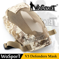 Wholesale Metal Mesh Fence - WoSoprT Tactical paintball Mask Full Face Breathable Metal Steel Net Mesh Protective prop for Fencing Swordplay Wargame