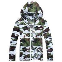 Wholesale Outdoor Fishing Jacket - Camouflage Thin UV Protection Men Jacket Summer Hooded Outdoor Running Fishing Hiking Men Coat Windbreaker Sport Outwear AMD001
