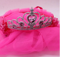 2017 girls' Crown veil for wedding party crystal wedding wreath head hoop lace princess headdress wreath