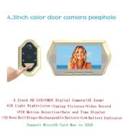 Wholesale Door Peephole Camera Motion Detection - Hot electronic peephole door viewer 4.3inch LCD 0.3Megapixels camera IR Night vision 3X Zoom 32 Rings PIR motion detection door bell