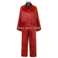 Wholesale Couples Onesies - Wholesale-Luxury Chinese Red Short Long Pajama Couple Satin Silk Nightwear, Men Silk Pajamas, Satin Pjs,
