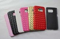 Wholesale Diamond Veneer - Woven Weave Knit Diamond Leather PC Plastic Hard Case For Samsung Galaxy S7   S7 edge Colorful Fashion Veneer Gluing Skin cover 100pcs