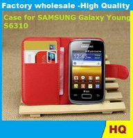 Wholesale Case Cover For Galaxy Young - Leather Case for Samsung Galaxy Young S6310 holster Wallet Cases Folio Book Cover with Kickstand Credit Card Holder, Cash Clip 50x