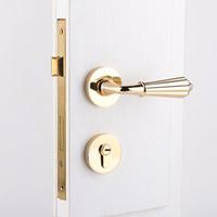 Wholesale Golden European Handles - modern Fashionable deluxe golden mechanical mute split lock golden bedroom kitchen bookroom solid wooden handle locks european