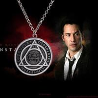 Wholesale Triangle Circle Pendant - 2016 Movie Jewelry Constantine Pendant Necklaces retro Rune triangle Magic circle charm statement necklaces unisex statement jewelry