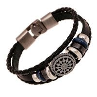 Barato Pulseira De Couro-Mix Style Link Bracelets Metal Clasp Infinity Multilayer Leather Beaded Braceletes para homens DIY Handmade Jewelry