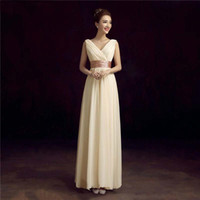 Wholesale Double Shoulder Dress - 2016 New Mother Of The Bride Dress Double-Shoulder Simple Solid Color Pleat Chiffon Fromal Long Evening Dresses