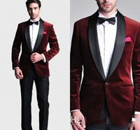 Wholesale Tuxedo Plaid Bow Tie - Hot Burgundy Jacket Slim Fit 2017 Groom Tuxedos Wedding Suits Groomsmen Evening Prom Men Suits Black Pants (Jacket+Pants+Bow Tie+Hanky)