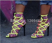 Wholesale Lace Covered High Heel - multicolor Fluorescent green high heels lace up summer sandals for women