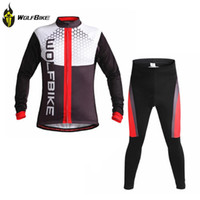 Wholesale Movistar Long Sleeve - Fall-WOLFBIKE BANK Breathable Jackets Cycle Sets Clothing Maillot Bicycle Movistar Tour Ropa Coat Ciclismo long sleeve Jerseys S093