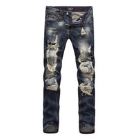Wholesale Mens Black Classic Straight Jeans - 2016 Famous P ripped hole fear of god p mens brand jeans pants men biker denim brand skull jeans black for man designer rock revival jeans
